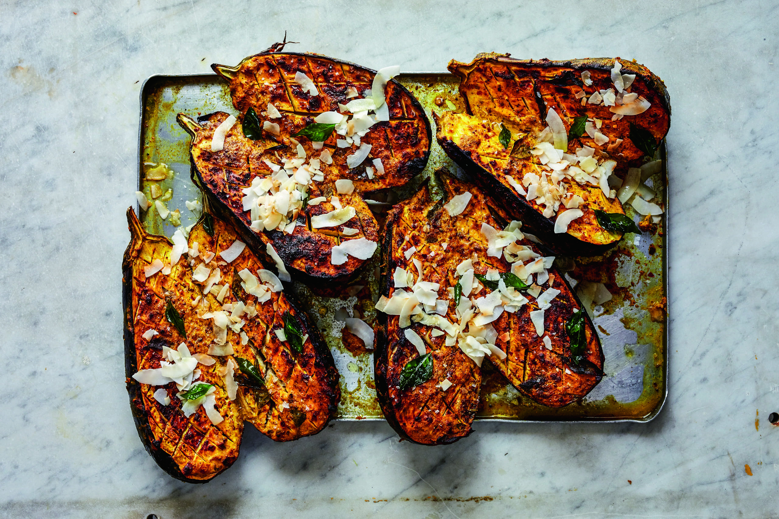 Roasted Aubergines with Fresh Coconut Recipe by Chef Anjula Devi