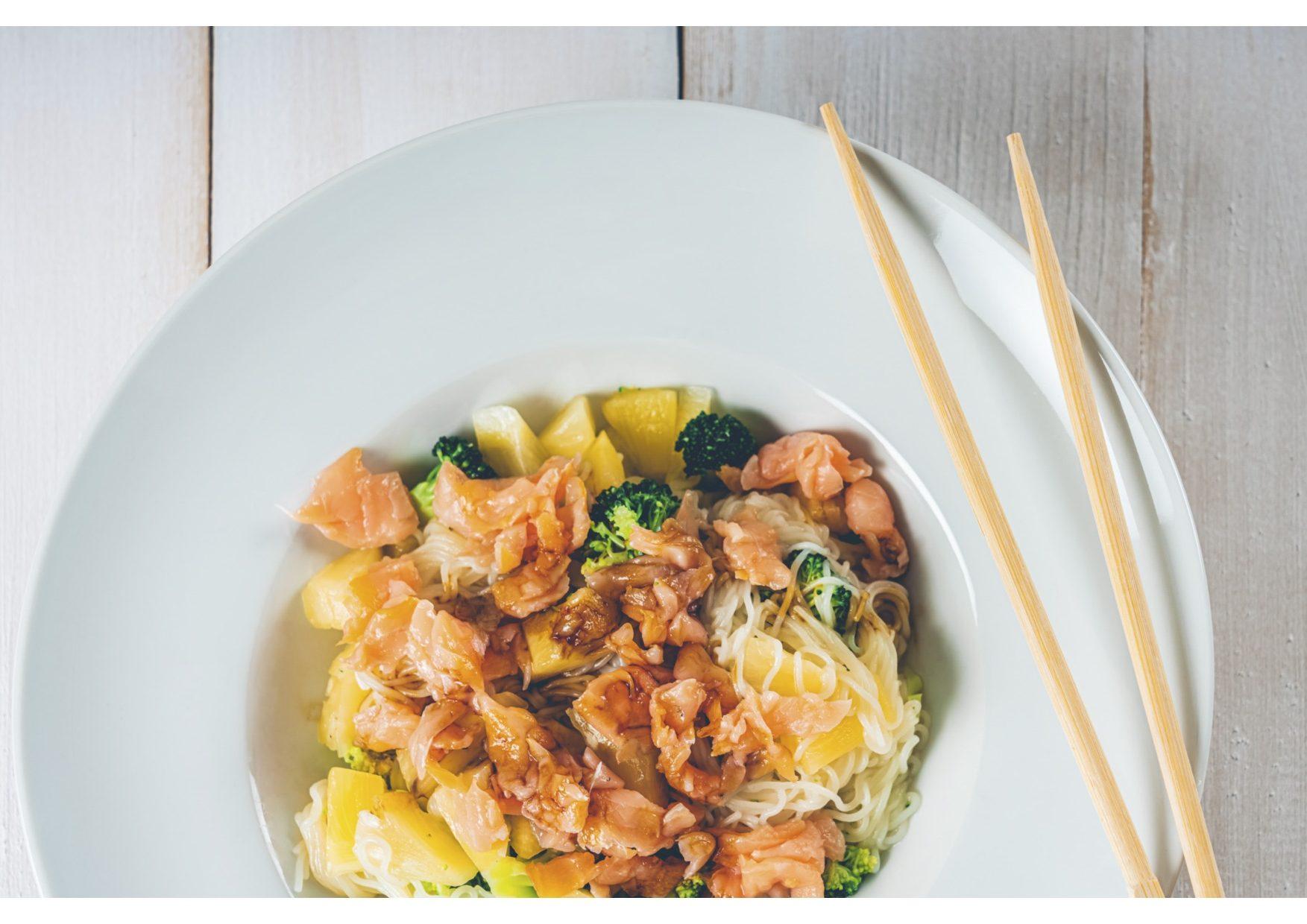 Spaghetti With Poached Egg, Teriyaki Grilled Salmon, Black Garlic Peanut Chilli Rayu by Chef Kwanghi Chan