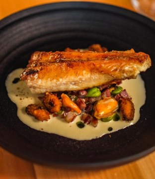 Monkfish Tail with Alsace Bacon, Mussels and Broad Beans by Chef Darryl Haynes – Circa Restaurant