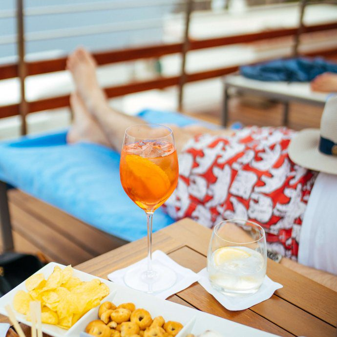 Aperol spritz by the pool at Casa Angelina Lifestyle Hotel in Praiano Italy, The Taste SF