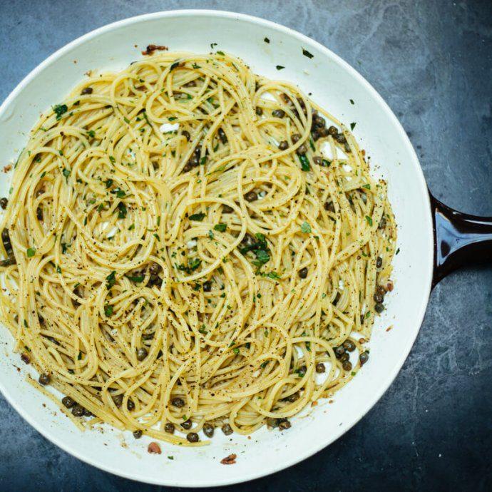 Rustichella spaghetti with anchovies and capers