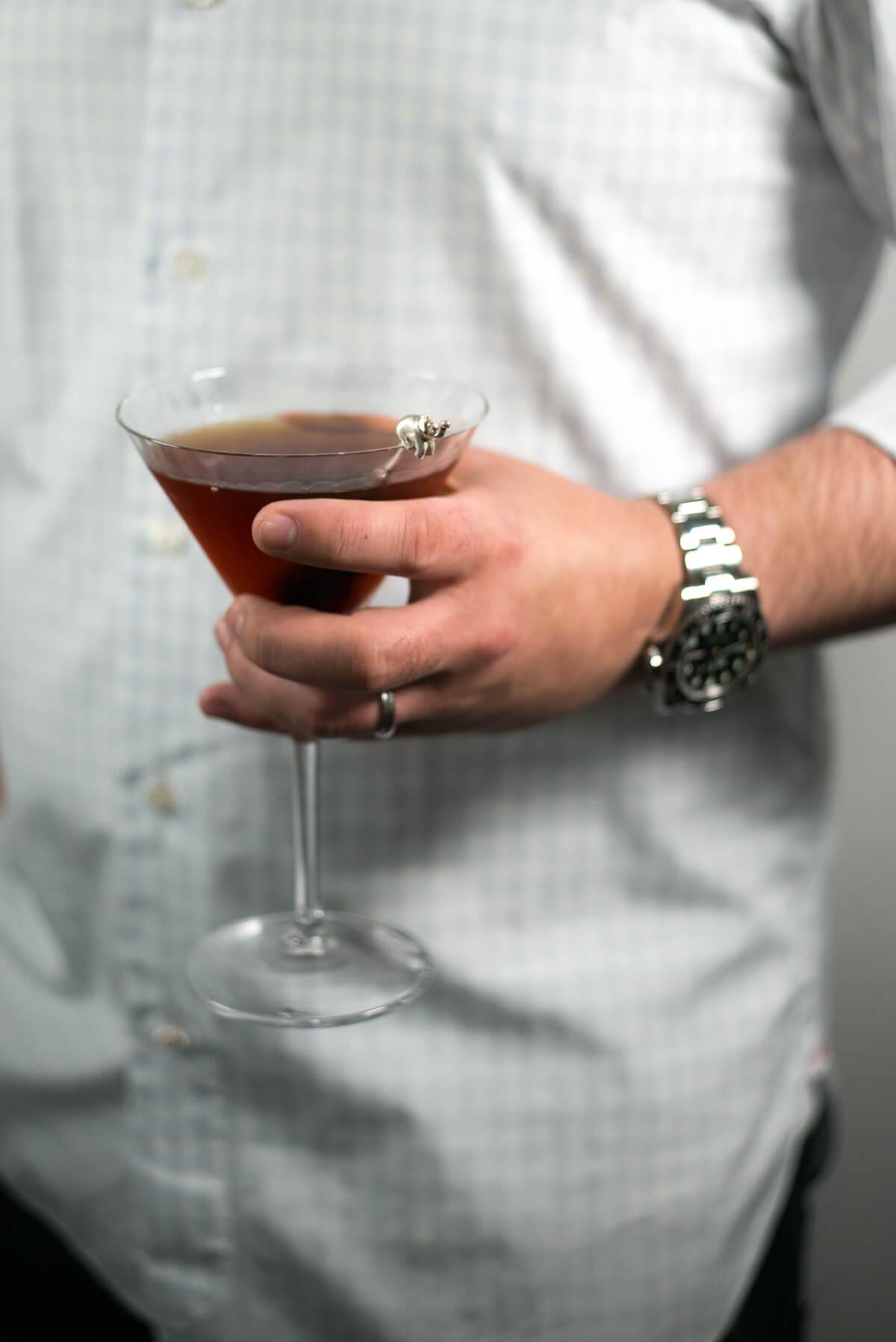 Classic manhattan cocktail served in William Yeoward American Bar martini glasses