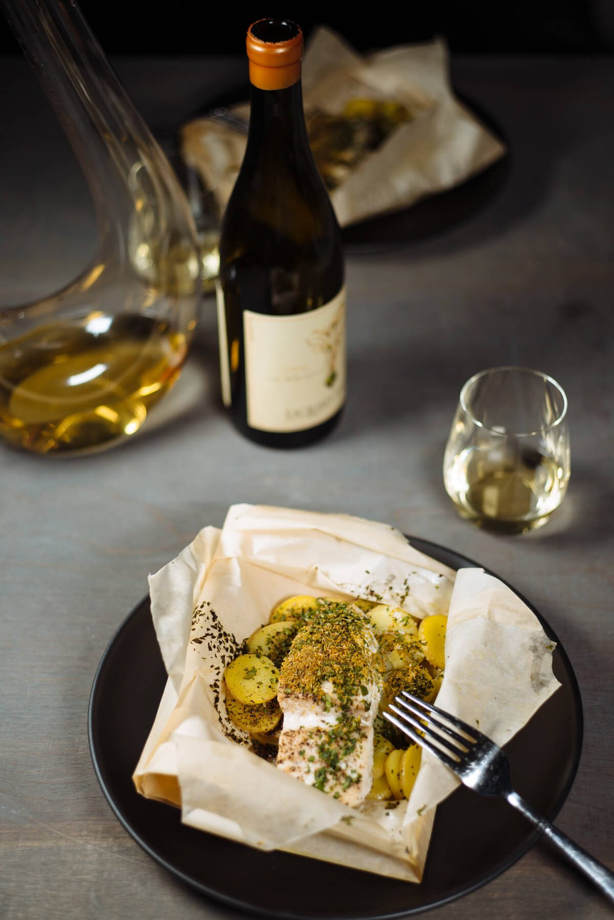 The Taste SF makes halibut with fennel pollen and potatoes to pair with Liquid Farm's wine