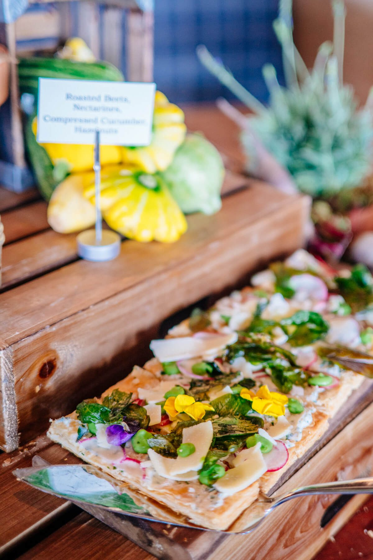 Herb Ricotta Fava Bean and Spring Radish Tart served at The Ritz -Calton half-moon bay