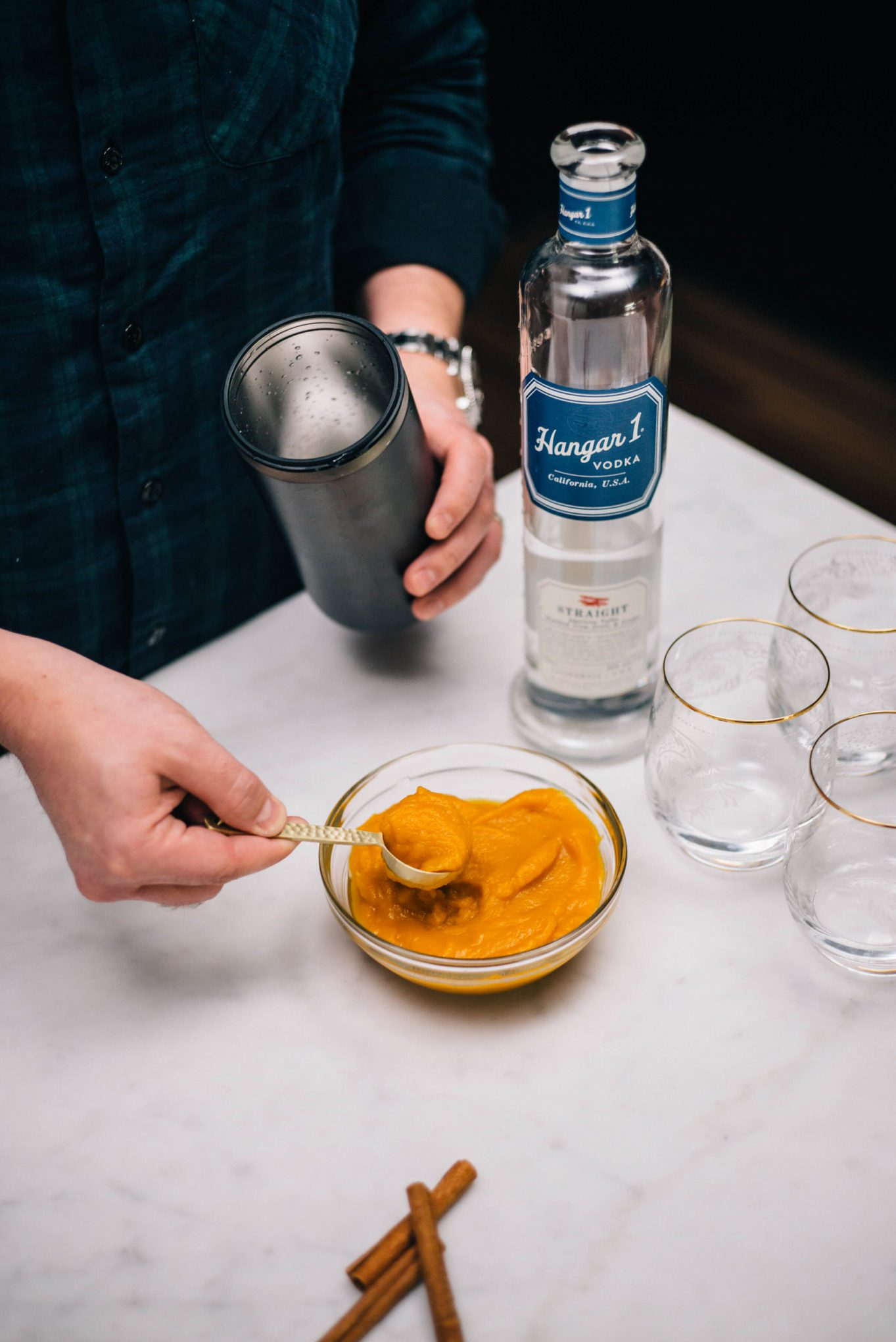 The Taste SF adds freshly roasted pumpkin puree, like you would use to make a pumpkin pie, with Hangar 1 Straight Vodka to makes Pumpkin Spice Cocktails