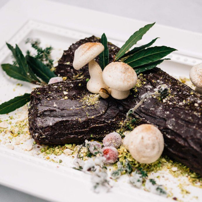 The Taste SF makes and decorates a traditional Bouche de Noel Christmas Yule Log