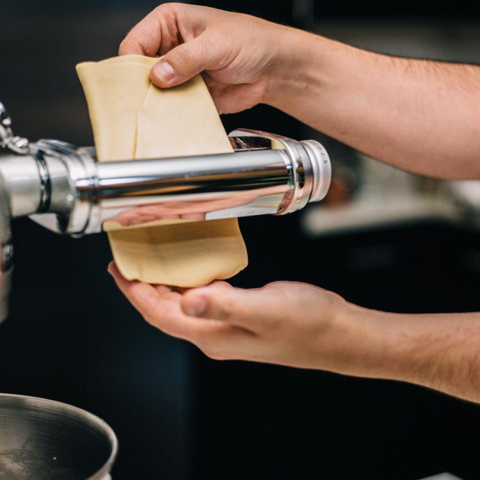 The Taste SF makes fresh pasta at home with a kitchen aid mixer and roller attachments