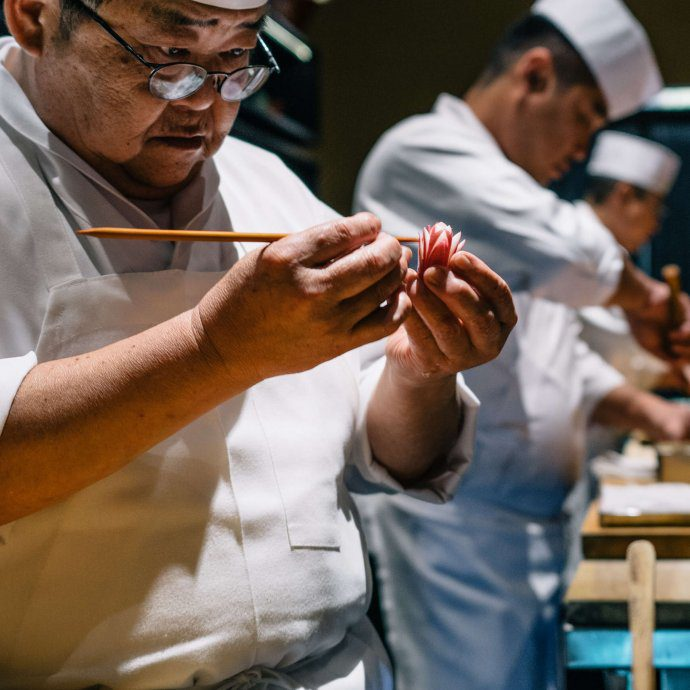 Our chef creating art with food at Omakase, The Taste SF