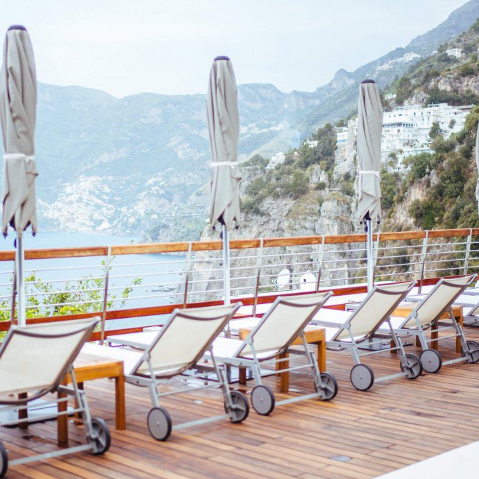 lounge chairs overlooking Positano at Casa Angelina Lifestyle Hotel in Praiano Italy, The Taste SF