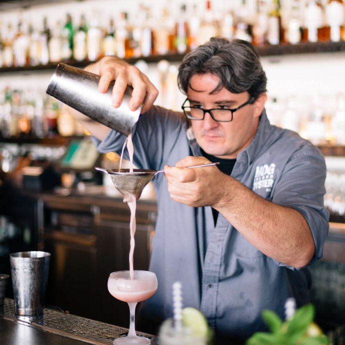 Bar Manager Saul Ranulla from Hog Island Oyster Company makes a watermelon wake, the taste sf