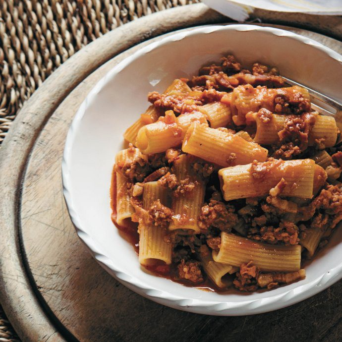 Make this Italian Rigatoni alla buttera cowboy style rigatoni pasta recipe from Emiko Davis, get the recipe on thetastesf
