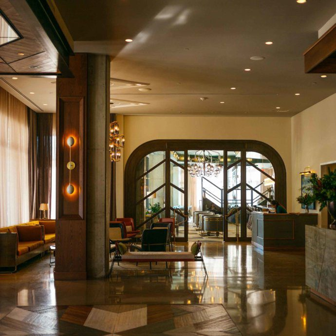 The Taste SF shows the beautiful lobby in the Thompson Nashville hotel located in the gulch neighborhood in downtown Nashville.