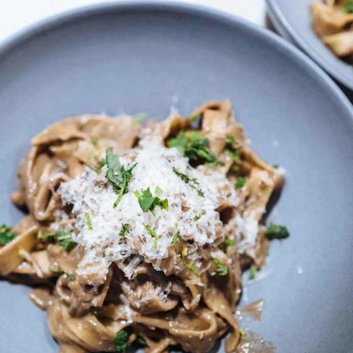 The Taste makes a creamy Florentine mushroom pasta that's vegetarian including mint and cheese