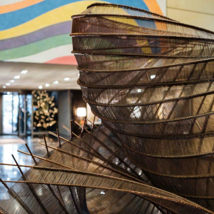 Large sculptures adorn the lobby of the Park Hyatt Zurich Hotel in Switzerland