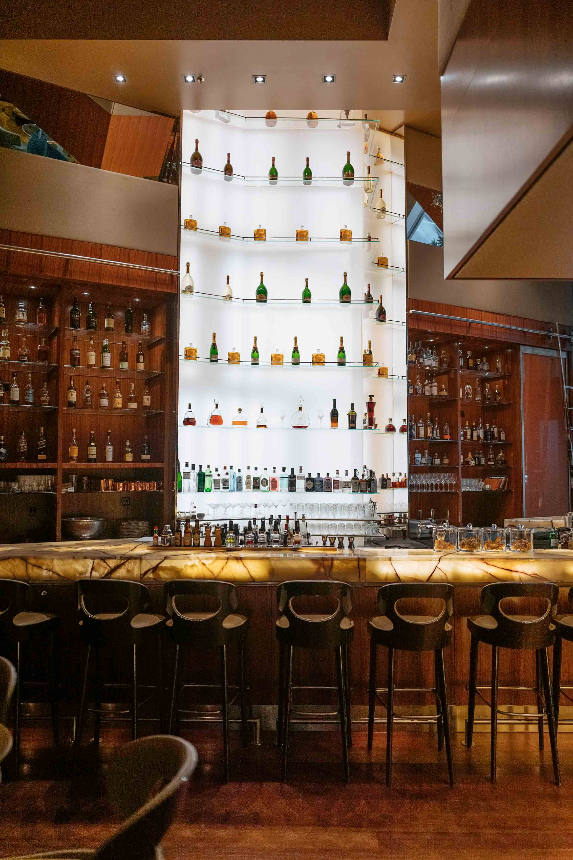 Onyx Bar at the Park Hyatt Zurich Hotel in Switzerland offers live music and DJ in the evenings for entertainment