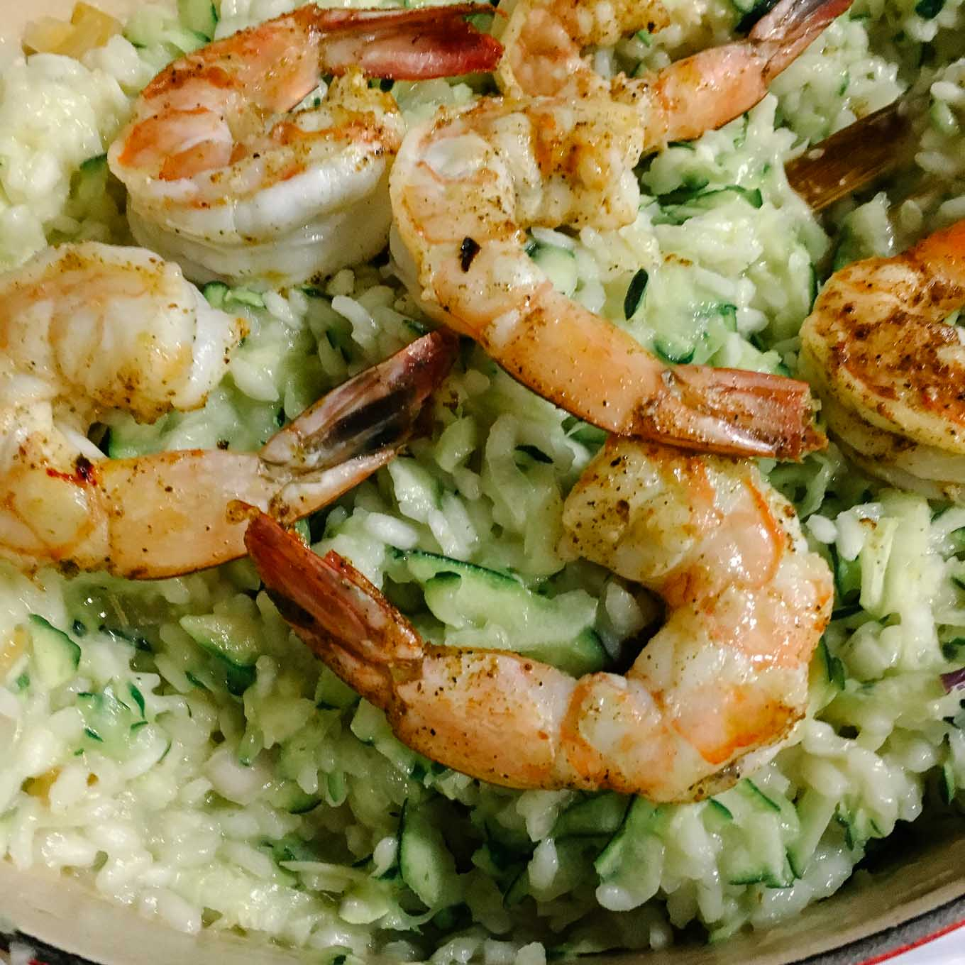 Risotto with Zucchini Prawns Preserved Lemon   the Tastiest Book