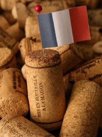 French flag stuck into a wine cork