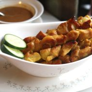 Lemongrass Chicken Satays with Indonesian Peanut Sauce