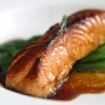 Green Tea Smoked Salmon with Ginger Scallion Sauce