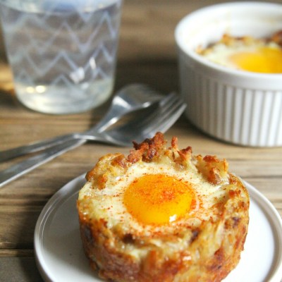 Baked Eggs in Hash Brown Cups