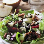 Goat Cheese, Pear, Pecan, and Cranberry Salad with Reduced Balsamic Vinaigrette