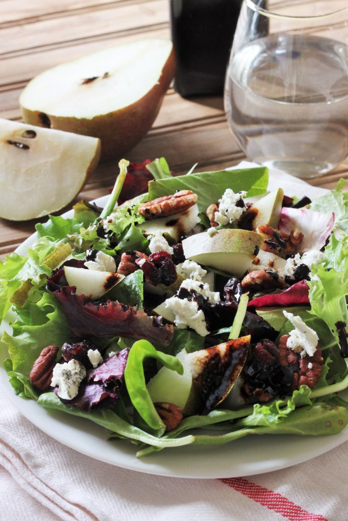 Goat Cheese, Pear, Pecan, and Cranberry Salad with Reduced Balsamic Vinaigrette-1
