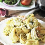Garlic Pesto Shrimp with Cheese Tortellini