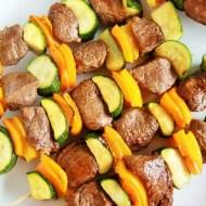 Asian Pepper Steak Kebabs
