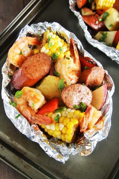 Cajun Sausage and Shrimp Boil Foil Packets