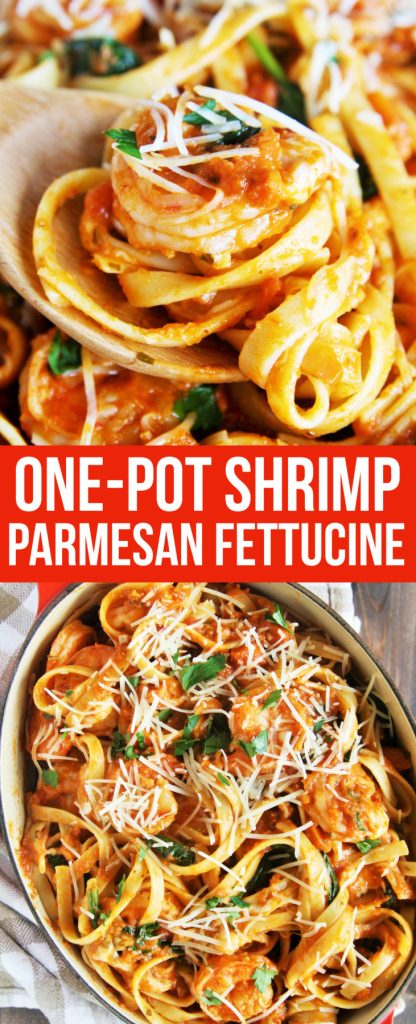 A flavorful shrimp parmesan pasta dish that comes together in under 30 minutes and makes the perfect weeknight meal for your family.