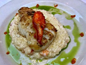 sea bass with lobster risotto