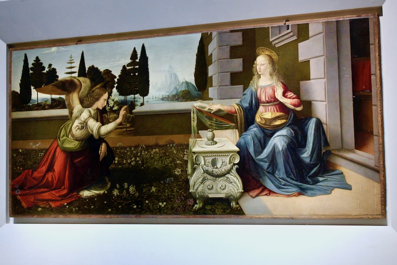 The Annunciation, Leonardo da Vinci, Uffizi Gallery Florence