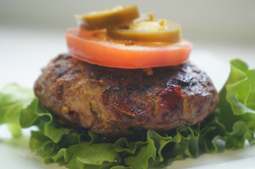 Paleo Adobo Bacon Burger with Lettuce