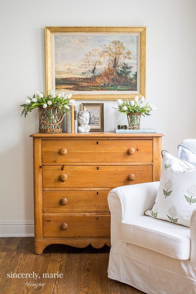 Antique Pine Chest Spring Vignette