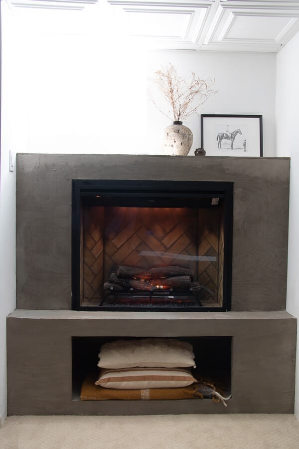 Welcome Home Saturday: Electric basement fireplace reveal
