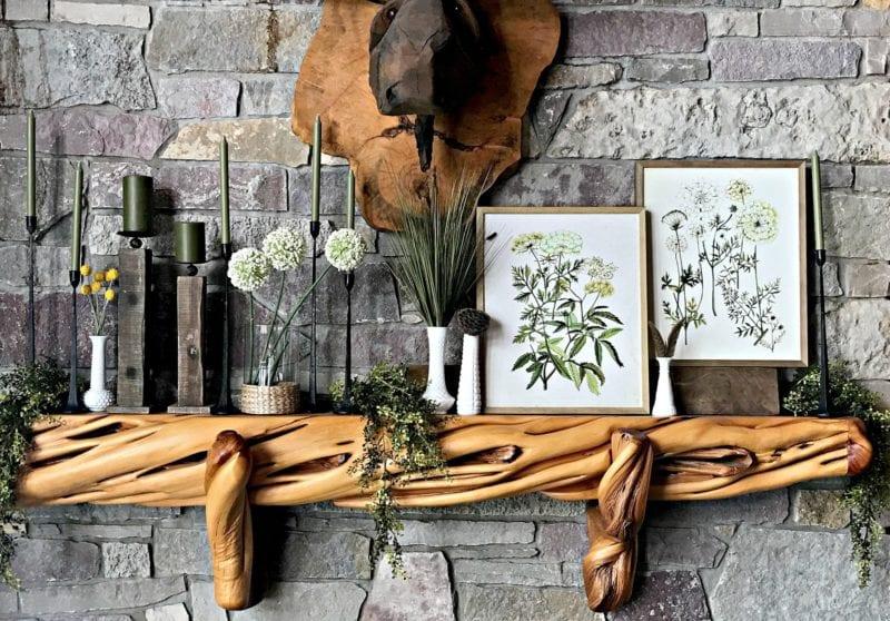 welcome home spring decor botanical inspired mantel