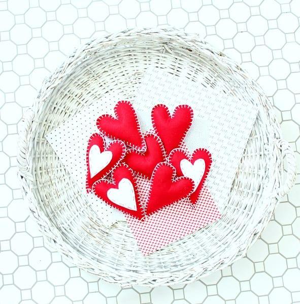 red felt hearts in basket
