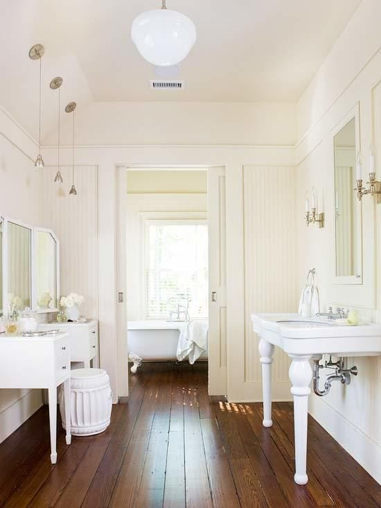 Bathroom Renovation-bead board & pocket door