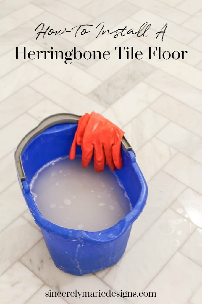 How to install a herringbone tile floor.