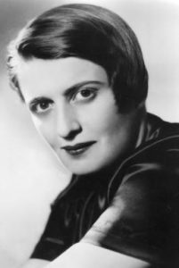 a picture of the author and sociopath Ayn Rand