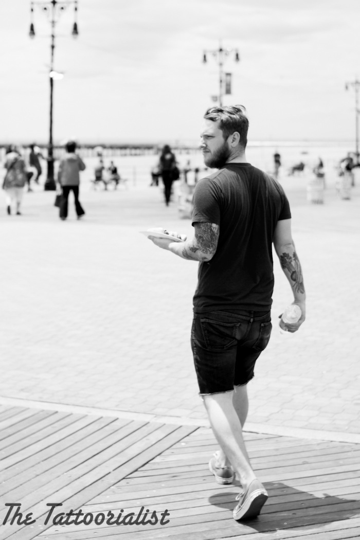 inked boy in NYC coney island by The Tattoorialist