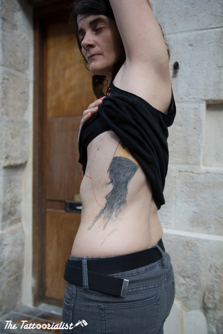 Marjolaine tattooed by Kostek, Yann Black, lionel fahy photo by The Tattoorialist Nicolas Brulez