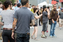 Man with tattoos in Montreal