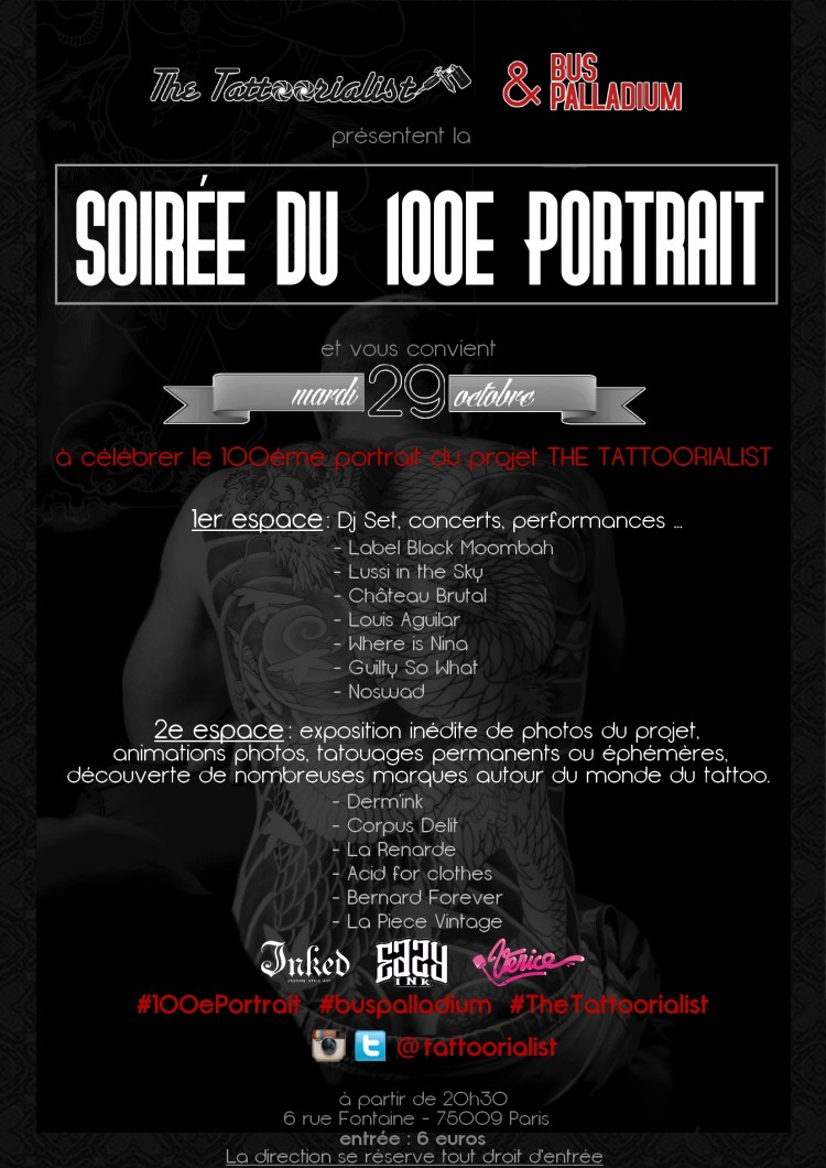 Affiche 100e portrait The Tattoorialist au Bus Palladium