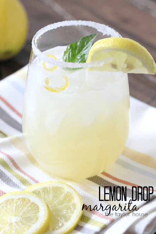 Delicious Lemon drop Margarita with Candy Lemon Peel!