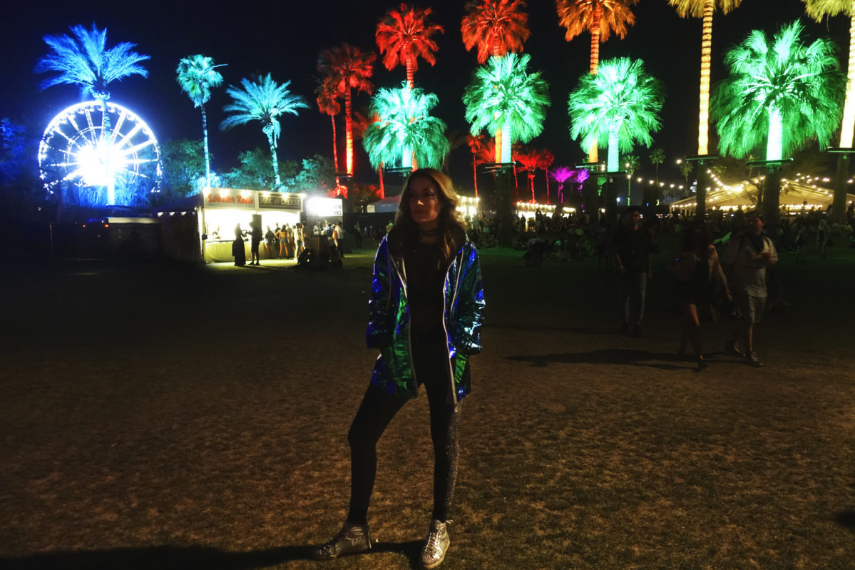 Coachella Night Palm Tree Music Festival