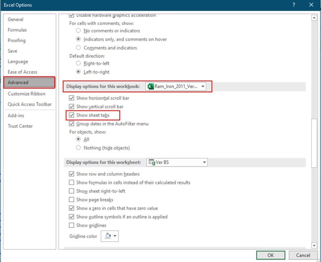 Missing Sheet Tabs In Microsoft Excel
