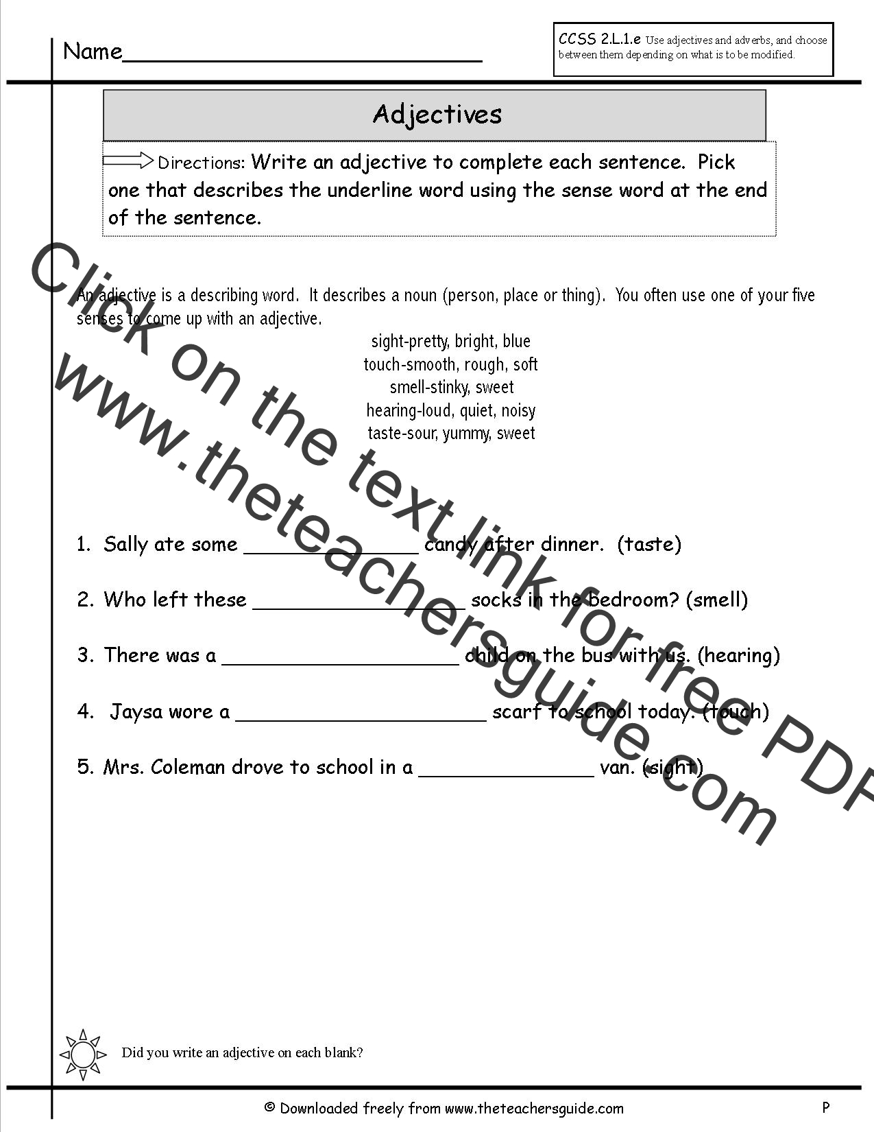 Adjective Worksheet 8th Grade