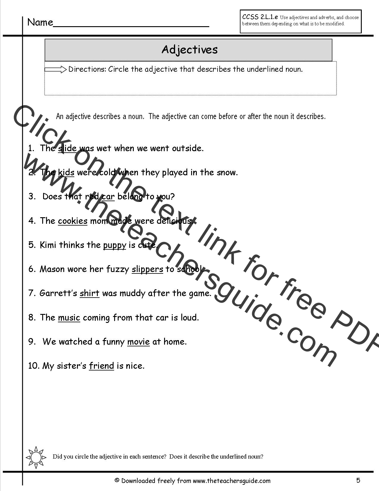 Adjectives Worksheets From The Teacher S Guide