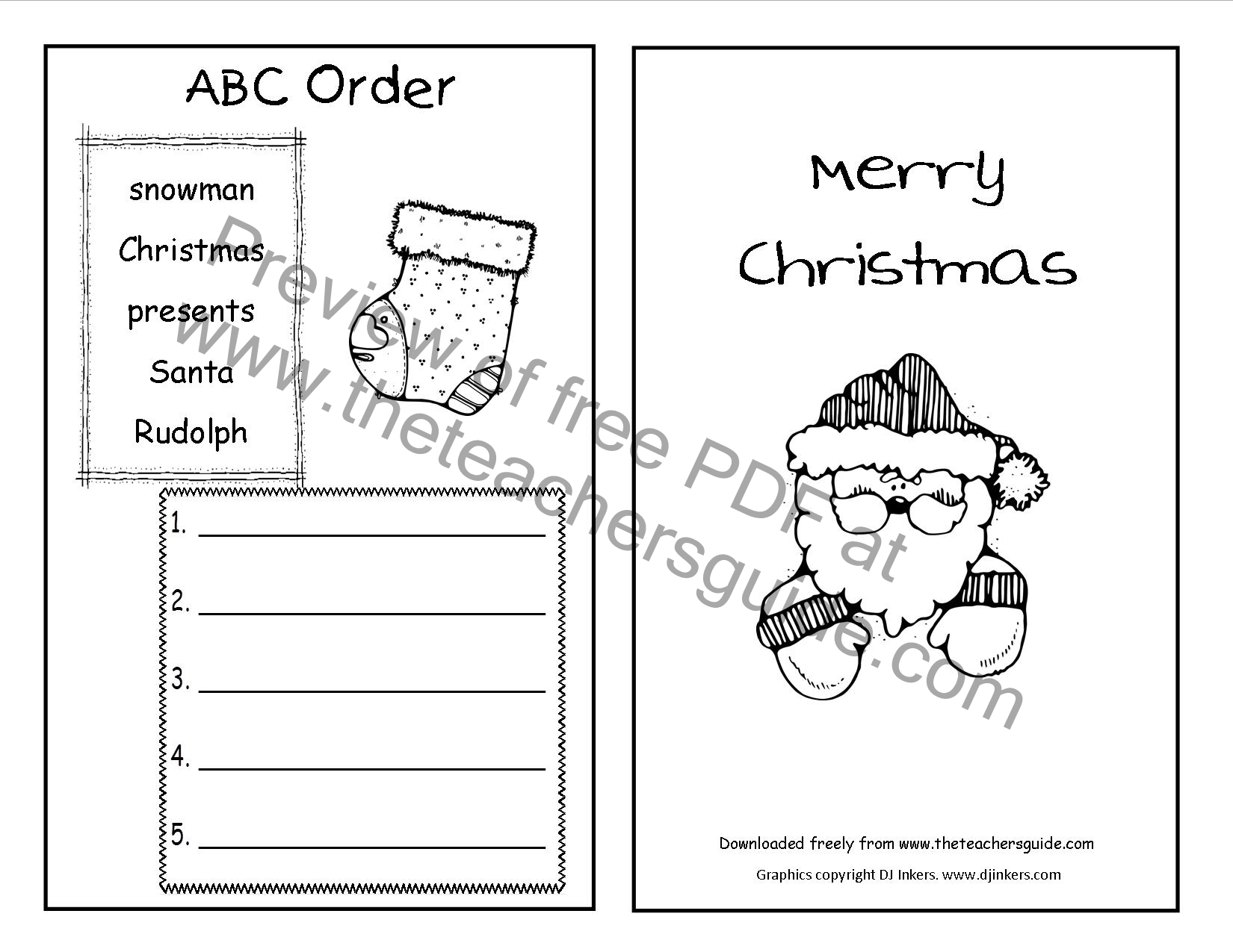 Christmas Printouts From The Teacher S Guide